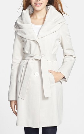 T Tahari Cheryl Pleat Collar Trench Coat