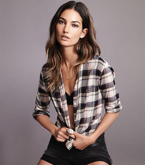 Lily Aldridge for Velvet Rita Plaid Button-Up Shirt in Bordeaux