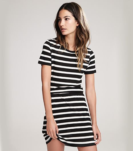 Lily Aldridge for Velvet Anna Stripe Dress in Black/Cream