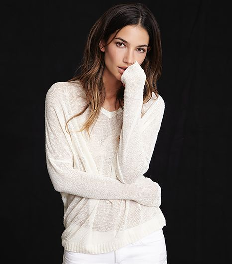Lily Aldridge for Velvet Jesse Silk Linen Knit Sweater in Milk