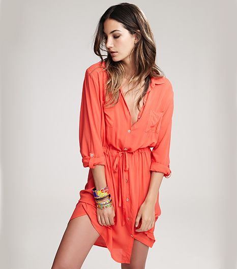 Lily Aldridge for Velvet Jesse Voile Shirtdress in Fire