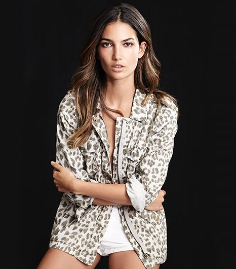 Lily Aldridge for Velvet Aziya Army Jacket in Leopard