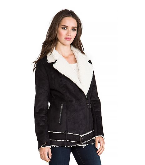 Minkpink Always and Forever Biker Faux Shearling Jacket