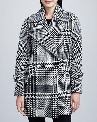 Trina Turk Nancy Menswear Wool Check Coat