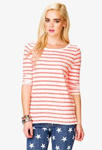 Forever 21 Striped ¾ Sleeve Top
