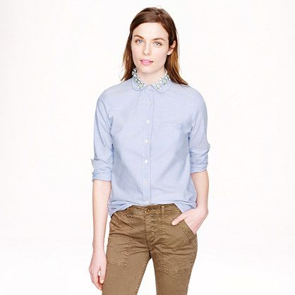 J.Crew Jeweled Oxford Boy Shirt