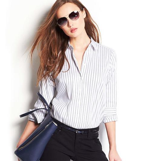 Ann Taylor Striped Perfect Button Down Shirt