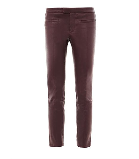 Helmut Lang Cropped Stovepipe Leather Trousers