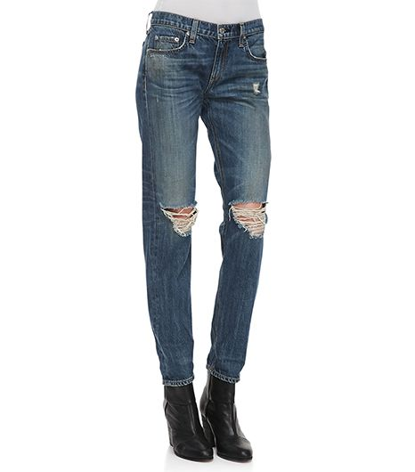 Rag & Bone Boyfriend Buckley Ripped-Knee Jeans