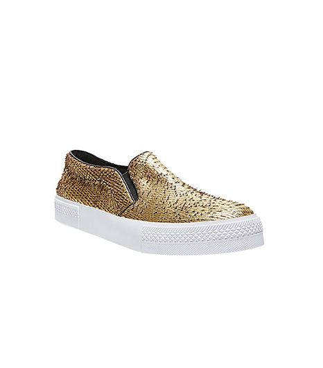 TNYC Gold Leather Slip-On Sneaker