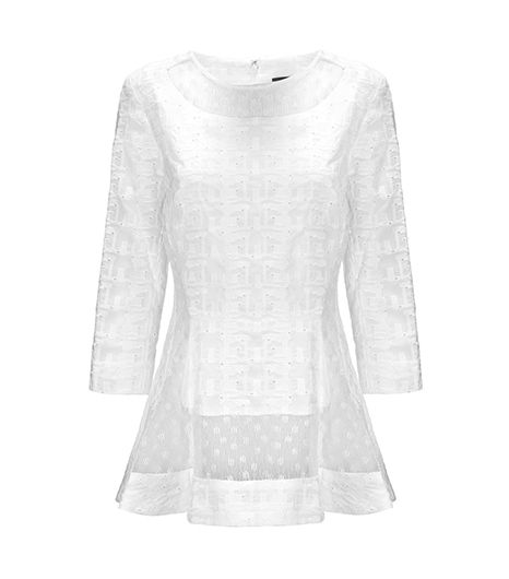Thakoon Lace Inset ¾ Sleeve Top
