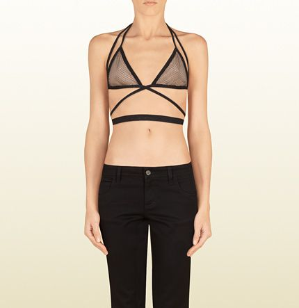 Gucci Black and Nude Mesh Bra Top