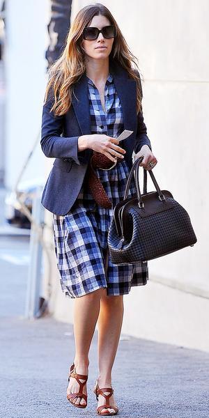 Jessica Biel's Perfect Plaid Dress