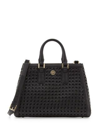 Tory Burch Robinson Woven Triangle Tote Bag