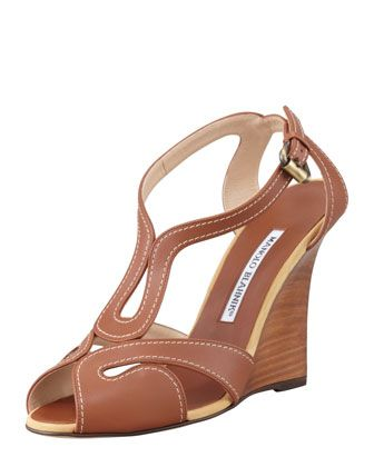 Manolo Blahnik Bran Strappy Leather Wedge Sandals