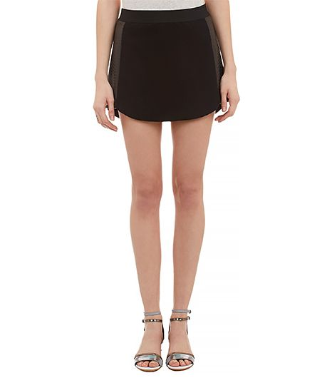 Mason by Michelle Mason Leather-Inset Mini Skirt