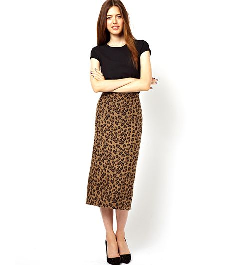 ASOS ASOS Pencil Skirt in Textured Leopard Print