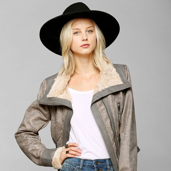 Members Only Faux Fur-Lined Aviator Jacket