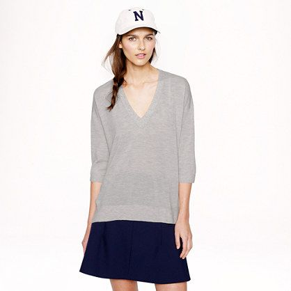 J.Crew Collection Featherweight Cashmere Drape-Sleeve V-Neck Sweater