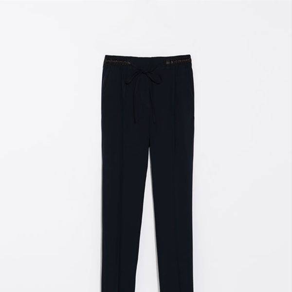 Zara Trousers with Faux Leather Waist