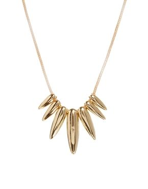 New Look Simple Tear Drop Spike Necklace