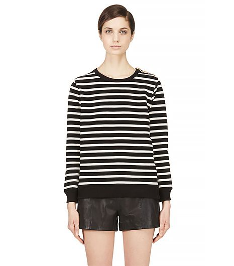 A.P.C. Black & Ecru Striped Mariner Sweater