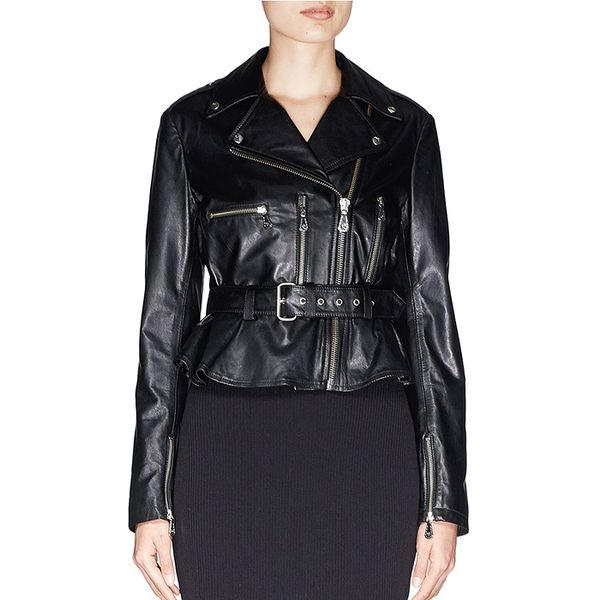 McQ Alexander Mcqueen Flared Peplum Leather Jacket