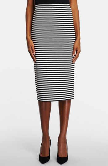 Lafayette 148 Open Weave Long Striped Pencil Skirt