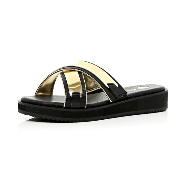 River Island River Island Black Metal Trim Cross Strap Mule Sandals