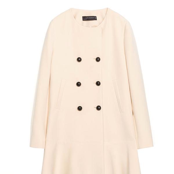 Zara Coat With Round Neck and Frilly Hem