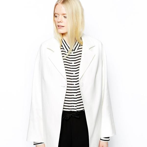 Helene Berman Single Button Swing Coat in Cotton