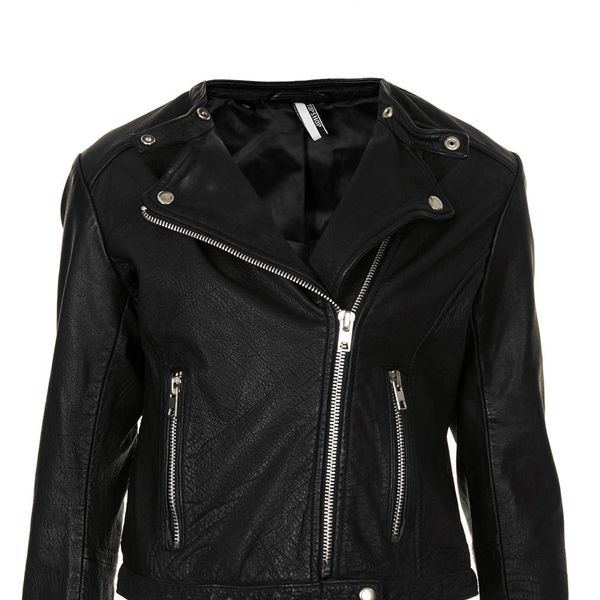 Topshop Collarless Leather Biker Jacket