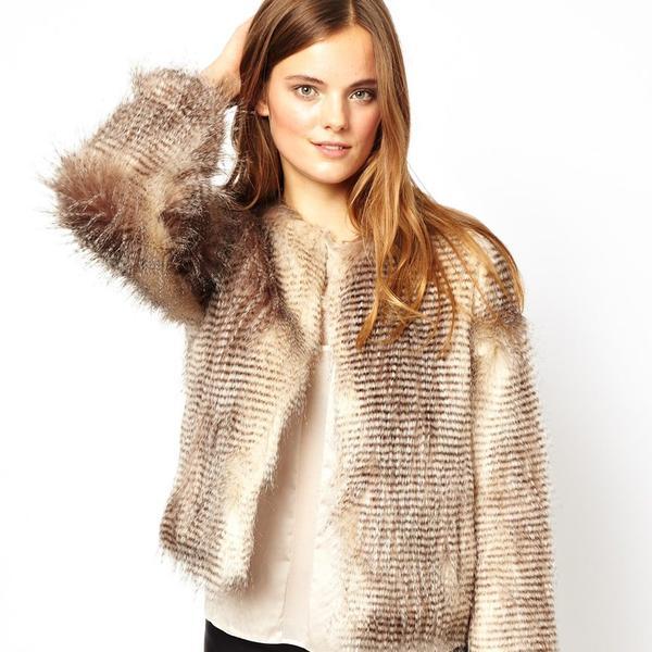 Unreal Fur Stripe Short Jacket