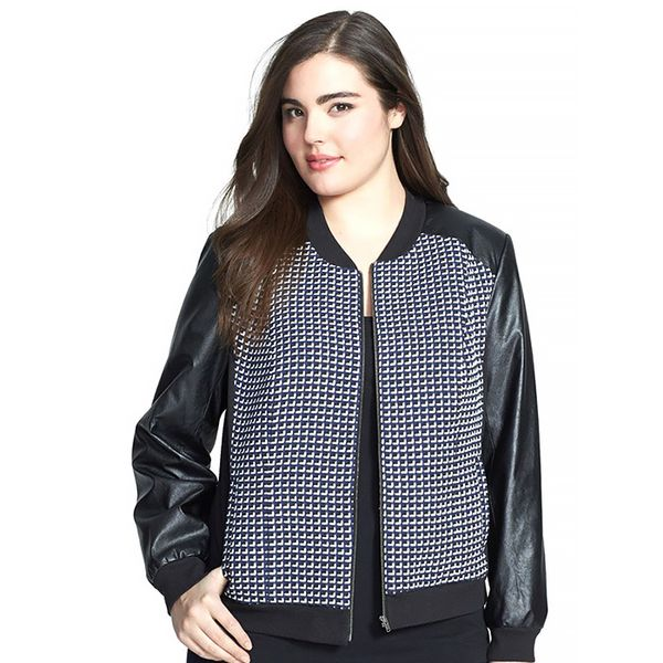 Sejour Costal Tweed & Faux Leather Bomber Jacket