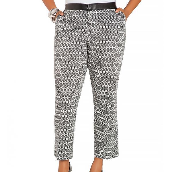 Ashley Stewart Faux Leather Waist Geo Print Pants