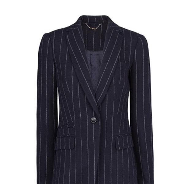 Mango Pinstripe Wool-Blend Suit Blazer