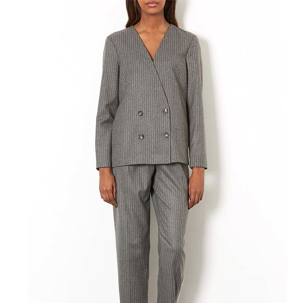 Topshop Collarless Pinstripe Jacket and Pinstripe Trousers