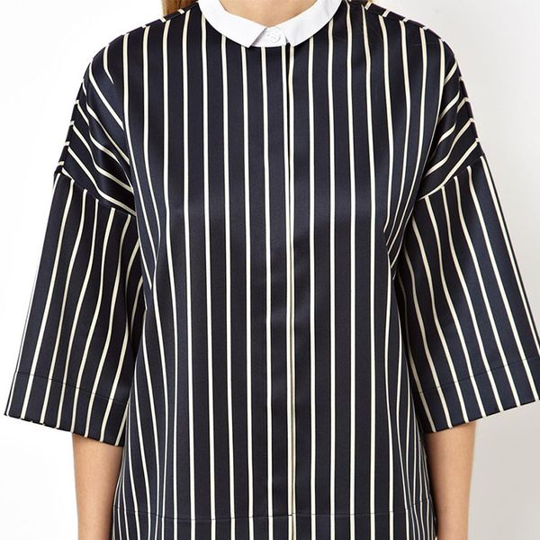 Asos Shirt with Contrast Collar in Structured Pinstripe