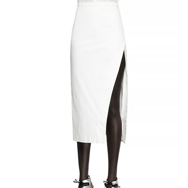 Altuzarra Canvas Thigh-Slit Midi Skirt