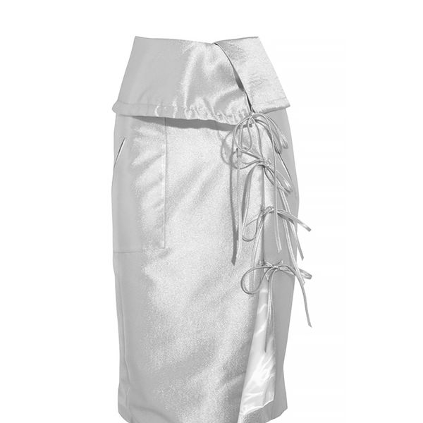 Altuzarra Obi Lace-up Metallic Satin-Crepe Skirt