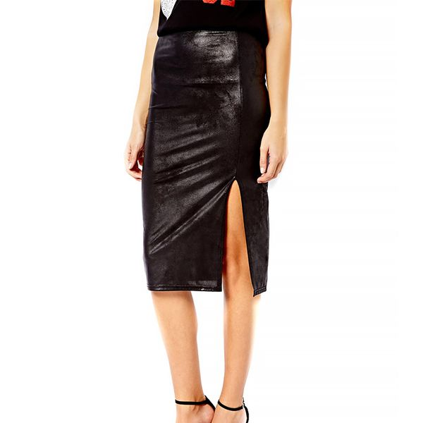 New Look Leather Look Side Split Pencil Skirt