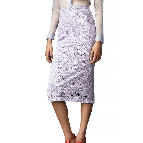 Burberry Prorsum English Floral Lace Pencil Skirt