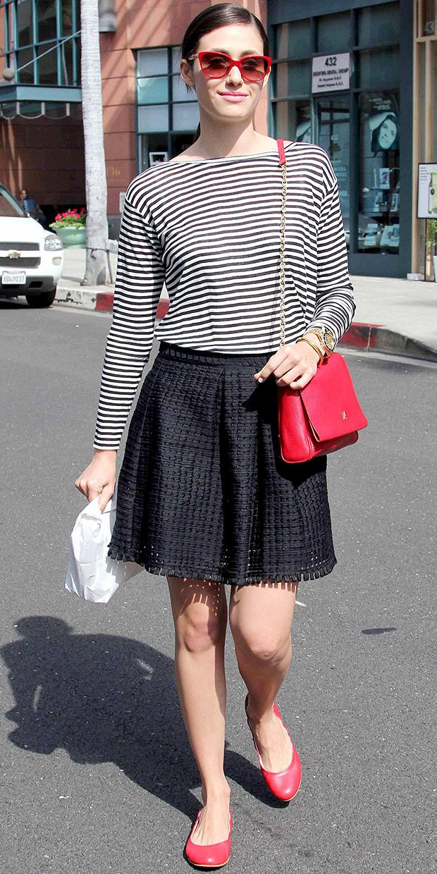 Emmy Rossum's Chic Red Accents