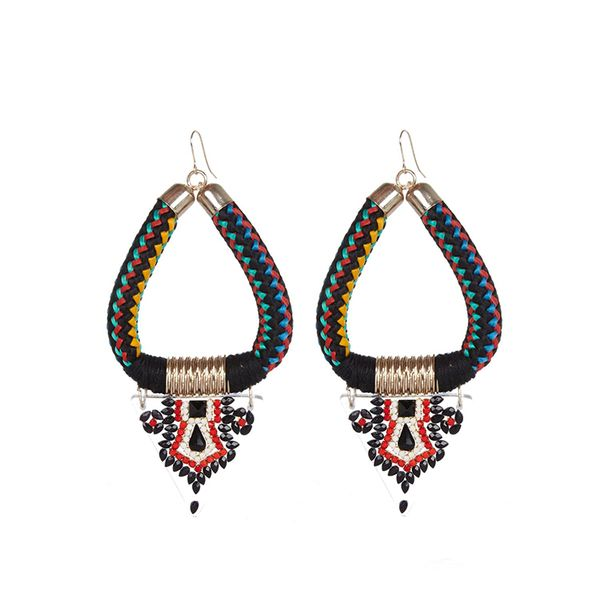 River Island Black Woven Tribal Dangle Earrings