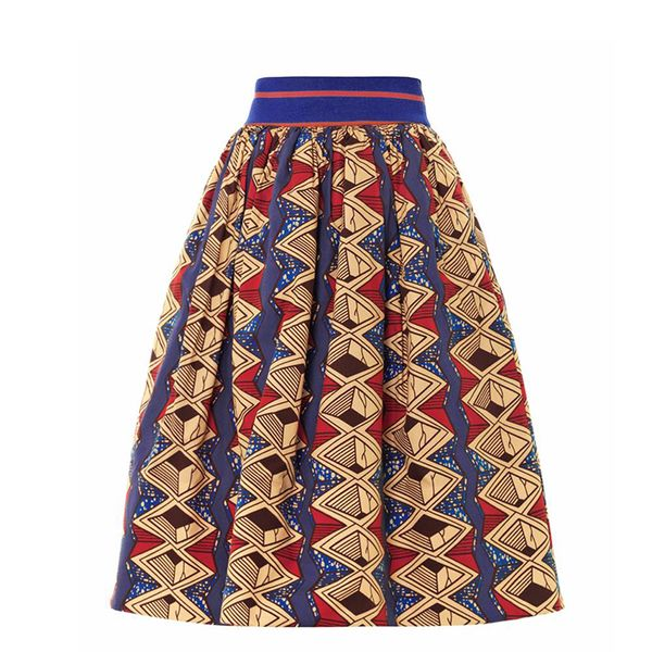 Stella Jean Iris Tribal-Print Cotton Skirt