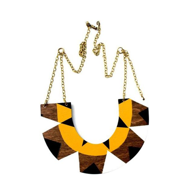 Voz Collective Tribal U-Shape Wood Necklace
