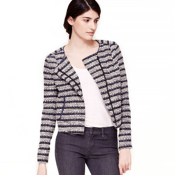 Loft Collarless Stripe Zip Jacket