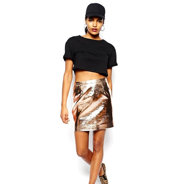 River Island Metallic Mini Skirt