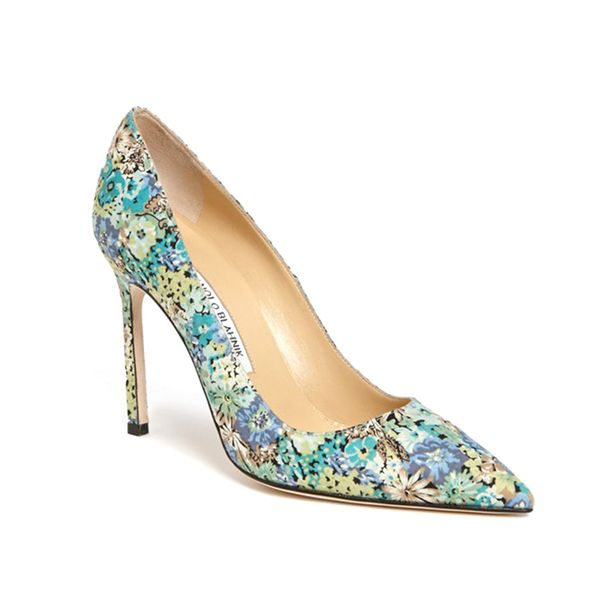 Manolo Blahnik Flower Print Pointy Toe Pumps