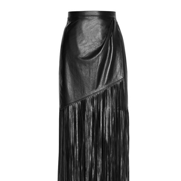 Tamara Mellon Fringed Wrap-Effect Leather Skirt